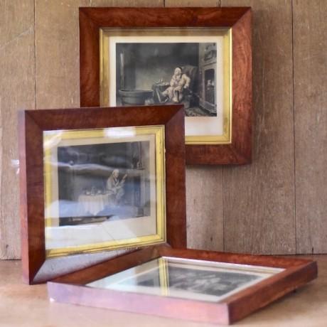 Set of Three Burr Veneered Frames