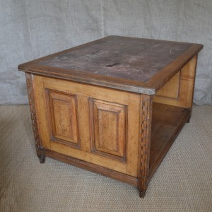 A large oak library centre cabinet/table