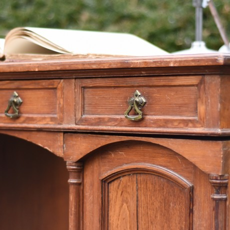 19thC Gothic Pitch Pine Desk