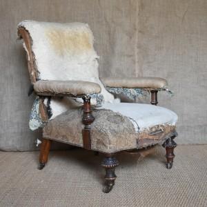 19thC Upholstered Open Armchair